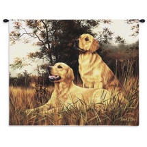 Golden Retriever | Woven Tapestry Wall Art Hanging | Dogs on Warm Autumn Landscape | 100% Cotton USA Size 34x26 Wall Tapestry