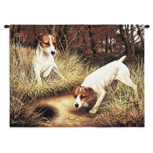 Pure Country Weavers - Jack Russell Terrier Hand Finished European Style Jacquard Woven Wall Tapestry. USA Size 26x34 Wall Tapestry