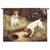 Jack Russell Terrier by Robert May | Woven Tapestry Wall Art Hanging | Pair of Dogs Exploring Forest Oil Painting | 100% Cotton USA Size 34x26 Wall Tapestry