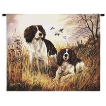 English Springer Spaniel by Robert May | Woven Tapestry Wall Art Hanging | Vibrant Spaniels on Field Oil Painting | 100% Cotton USA Size 34x26 Wall Tapestry