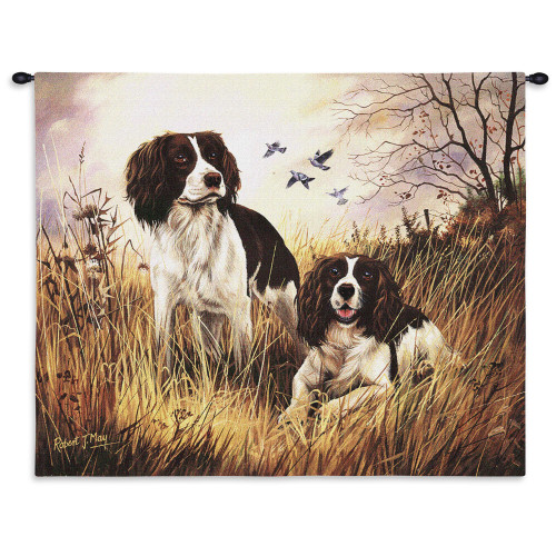 Pure Country Weavers | English Springer Spaniel Hand Finished European Style Jacquard Woven Wall Tapestry. USA Size 26x34 Wall Tapestry