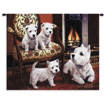 West Highland White Terrier by Robert May | Woven Tapestry Wall Art Hanging | Terrier Family Posed at Fireside Oil Panting | 100% Cotton USA Size 34x26 Wall Tapestry