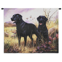 Labrador Retriever Black by Robert May | Woven Tapestry Wall Art Hanging | Black Labs on Field Oil Painting | 100% Cotton USA Size 34x26 Wall Tapestry