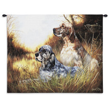 English Setter by Robert May | Woven Tapestry Wall Art Hanging | Dogs Relaxing in Field Oil Painting | 100% Cotton USA Size 34x26 Wall Tapestry