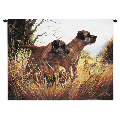 Pure Country Weavers - Border Terrier Hand Finished European Style Jacquard Woven Wall Tapestry. USA Size 26x34 Wall Tapestry