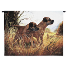 Border Terrier by Robert May | Woven Tapestry Wall Art Hanging | Pair of Dogs on Field Oil Painting | 100% Cotton USA Size 34x26 Wall Tapestry