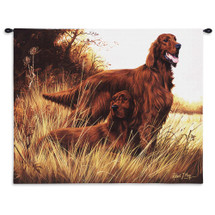 Irish Setter by Robert May | Woven Tapestry Wall Art Hanging | Dogs on Field Oil Painting | 100% Cotton USA Size 34x26 Wall Tapestry