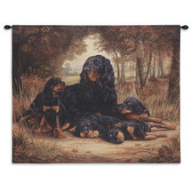 Gordon Setter by Robert May | Woven Tapestry Wall Art Hanging | Dog Family Resting in Forest Oil Painting | 100% Cotton USA Size 34x26 Wall Tapestry