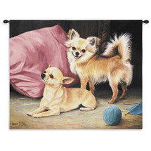 Chihuahua by Robert May | Woven Tapestry Wall Art Hanging | Pair of Chihuahuas Oil Portrait | 100% Cotton USA Size 34x26 Wall Tapestry