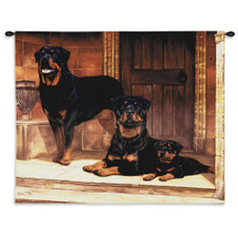 Rottweiler | Woven Tapestry Wall Art Hanging | Family of Dogs in Doorway | 100% Cotton USA Size 34x26 Wall Tapestry