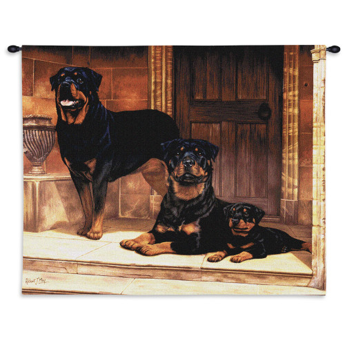 Pure Country Weavers - Rottweiler Hand Finished European Style Jacquard Woven Wall Tapestry. USA Size 26x34 Wall Tapestry