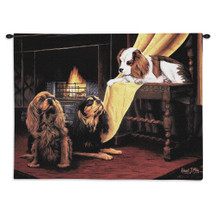 Cavalier King Charles Spaniel by Robert May | Woven Tapestry Wall Art Hanging | Dogs Sitting at Fireplace Oil Painting | 100% Cotton USA Size 34x26 Wall Tapestry