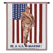 Be a Marine | Woven Tapestry Wall Art Hanging | Vintage US Armed Forces Recruitment Poster | 100% Cotton USA Size 36x24 Wall Tapestry