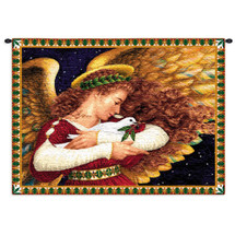 Angel And Dove By Lynn Bywaters - Woven Tapestry Wall Art Hanging - Angel Holding Dove Christian Religious Children Illustration - 100% Cotton - USA Wall Tapestry