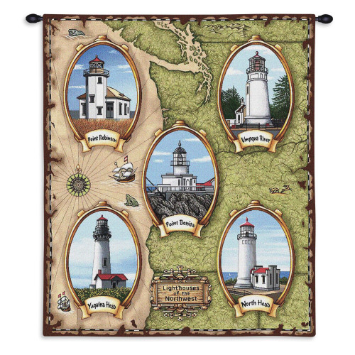 Pure Country Weavers - Lighthouses of the Northwest Point Robinson Bonita Umpqua River Yaquina North Head Hand Finished European Style Jacquard Woven Wall Tapestry. USA Size 32x26 Wall Tapestry