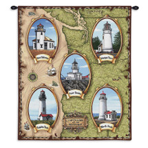 Lighthouses of the Northwest  | Woven Tapestry Wall Art Hanging | American Pacific Coast Lighthouse Map | 100% Cotton USA Size 34x26 Wall Tapestry