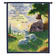 John 3:16 Biblical Passage | Woven Tapestry Wall Art Hanging | Biblical Christian Artwork With Jesus And Lamb Bible Verse | 100% Cotton USA 32X26 Wall Tapestry