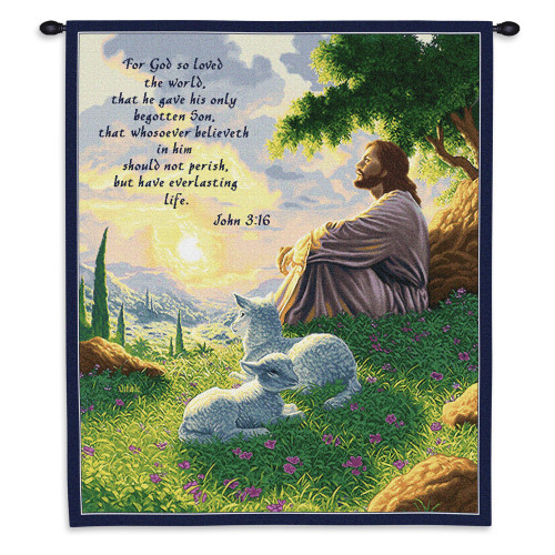 Pure Country Weavers - John 3:16 Jesus with Lamb Inspirational Hand Finished European Style Jacquard Woven Wall Tapestry. USA Size 32x26 Wall Tapestry