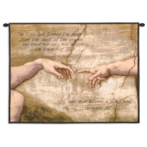Pure Country Weavers - Creation of Adam With Words Hand Finished European Style Jacquard Woven Wall Tapestry. USA Size 26x34 Wall Tapestry