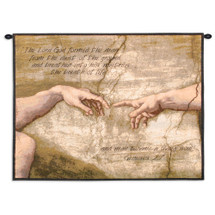 Creation Of Adam With Words | Woven Tapestry Wall Art Hanging | Biblical Christian Genesis 2:7 Inspirational Artwork | 100% Cotton USA Size 34x26 Wall Tapestry