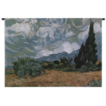 Wheat Field With Cypresses - Woven Tapestry Wall Art Hanging For Home Living Room & Office Decor - Wheatfields Cypress Landscape Blue Green Brown- 100% Cotton - USA 27X32 Wall Tapestry