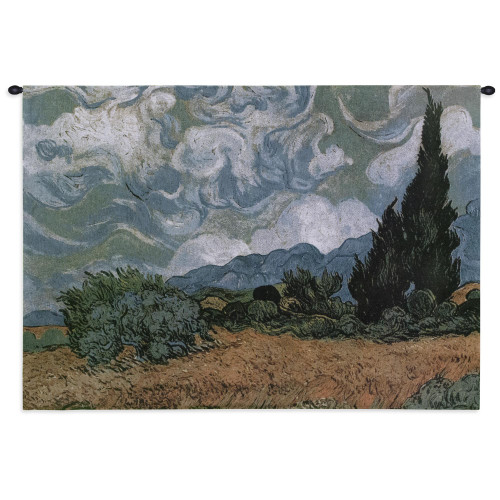 Pure Country Weavers - Wheat Field with Cypresses Hand Finished European Style Jacquard Woven Wall Tapestry. USA Size 27x32 Wall Tapestry