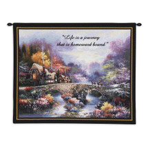 Going Home with Words by James Lee | Woven Tapestry Wall Art Hanging | Cobblestone Bridge through Lush Vibrant Stream | 100% Cotton USA Size 34x26 Wall Tapestry