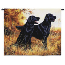 Flat-Coated Retriever by Robert May | Woven Tapestry Wall Art Hanging | Dogs in Autumn Field Oil Painting | 100% Cotton USA Size 34x26 Wall Tapestry