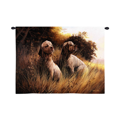 Pure Country Weavers - Clumber Spaniel Hand Finished European Style Jacquard Woven Wall Tapestry. USA Size 26x34 Wall Tapestry
