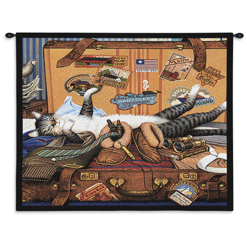 Pure Country Weavers - Mabel The Stowaway Cat in a suitecase Hand Finished European Style Jacquard Woven Wall Tapestry. USA Size 26x34 Wall Tapestry