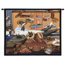 Mabel the Stowaway - American Tourist's Suitcase with Feline Friend - Wall Tapestry
