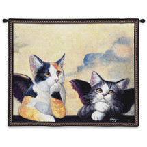 Cherub Cats | Woven Tapestry Wall Art Hanging | Angelic Kittens Pondering - Fun Cat Lover's Gift | 100% Cotton USA Size 34x26 Wall Tapestry