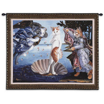 Kitty on a Half Shell by Melinda Copper | Woven Tapestry Wall Art Hanging |  Sandro Botticelli Birth of Venus Parody – Fun Cat Lover's Gift | 100% Cotton USA Size 34x26 Wall Tapestry