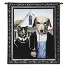 Animal Gothic by Melinda Copper | Woven Tapestry Wall Art Hanging | Blue Brown Gothic Humor Classic | 100% Cotton USA Size 34x26 Wall Tapestry