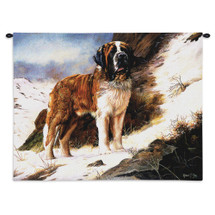 Saint Bernard by Robert May | Woven Tapestry Wall Art Hanging | Dog on Snowy Mountainside Oil Painting | 100% Cotton USA Size 34x26 Wall Tapestry