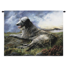 Scottish Deerhound by Robert May | Woven Tapestry Wall Art Hanging | Dog Resting on Hill Oil Painting | 100% Cotton USA Size 34x26 Wall Tapestry