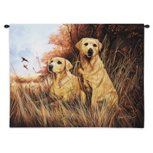 Pure Country Weavers - Labrador Retrievers Yellow Hand Finished European Style Jacquard Woven Wall Tapestry. USA Size 26x34 Wall Tapestry