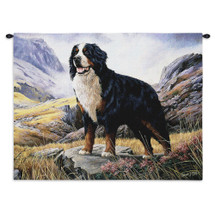 Bernese Mountain Dog by Robert May | Woven Tapestry Wall Art Hanging | Dog Posed on Rocky Landscape Oil Painting | 100% Cotton USA Size 34x26 Wall Tapestry