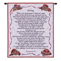 Warning | Woven Tapestry Wall Art Hanging | Jenny Joseph Poetry with Floral Hats | 100% Cotton USA Size 34x26 Wall Tapestry