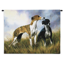 Greyhounds by Robert May | Woven Tapestry Wall Art Hanging | Dogs on Grassy Field Oil Painting | 100% Cotton USA Size 34x26 Wall Tapestry