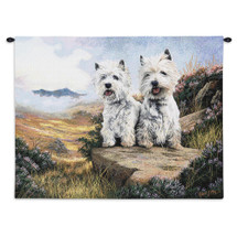 West Highland White Terrier 2 by Robert May | Woven Tapestry Wall Art Hanging | Two Dogs by Field Oil Painting | 100% Cotton USA Size 34x26 Wall Tapestry