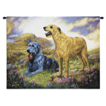 Irish Wolfhound by Robert May | Woven Tapestry Wall Art Hanging | Pair of Dogs on Field Oil Painting | 100% Cotton USA Size 34x26 Wall Tapestry