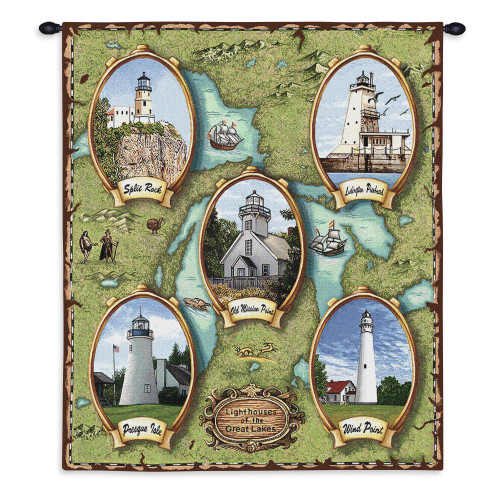 Lighthouses of the Great Lakes II   Woven Tapestry Wall Art Hanging   North American Midwest Lighthouse Map   100% Cotton USA Size 34x26 Wall Tapestry