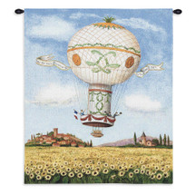 Hot Air Balloon Flight over Sunflowers by Alexandra Churchill | Woven Tapestry Wall Art Hanging | Whimsical French Ride over Village Field | 100% Cotton USA Size 34x26 Wall Tapestry