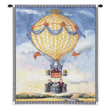 High Tea by Alexandra Churchill | Woven Tapestry Wall Art Hanging | Whimsical French Balloon Ride over Flower Field | 100% Cotton USA Size 34x27 Wall Tapestry