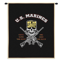 Mess with Best | Woven Tapestry Wall Art Hanging | Patriotic USMC Skull and Crossbones | 100% Cotton USA Size 34x26 Wall Tapestry
