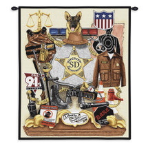 Sheriff Profession | Woven Tapestry Wall Art Hanging | American Law Enforcement Appreciation Artwork | 100% Cotton USA Size 34x26 Wall Tapestry