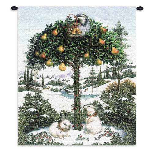 Partridge in Tree   Woven Tapestry Wall Art Hanging   Snowy Pear Tree Festive Holiday Symbol   100% Cotton USA Size 34x26 Wall Tapestry
