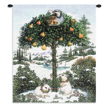 Partridge in Tree | Woven Tapestry Wall Art Hanging | Snowy Pear Tree Festive Holiday Symbol | 100% Cotton USA Size 34x26 Wall Tapestry