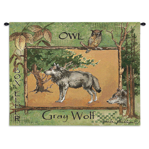 Pure Country Weavers - Gray Wolf Hand Finished European Style Jacquard Woven Wall Tapestry. USA Size 26x34 Wall Tapestry